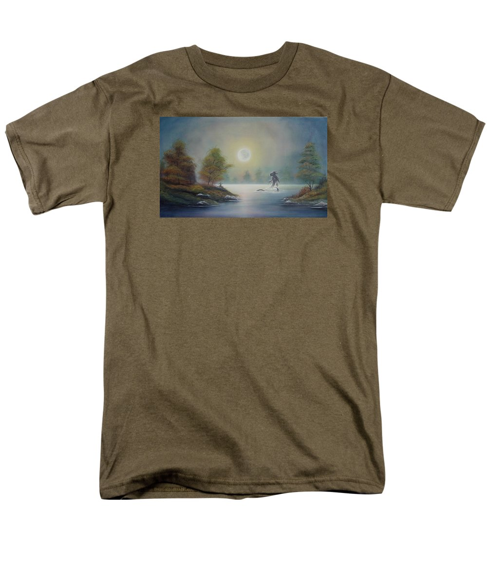 Landscape Men's T-Shirt (Regular Fit) featuring the painting Monstruo Ness by Angel Ortiz