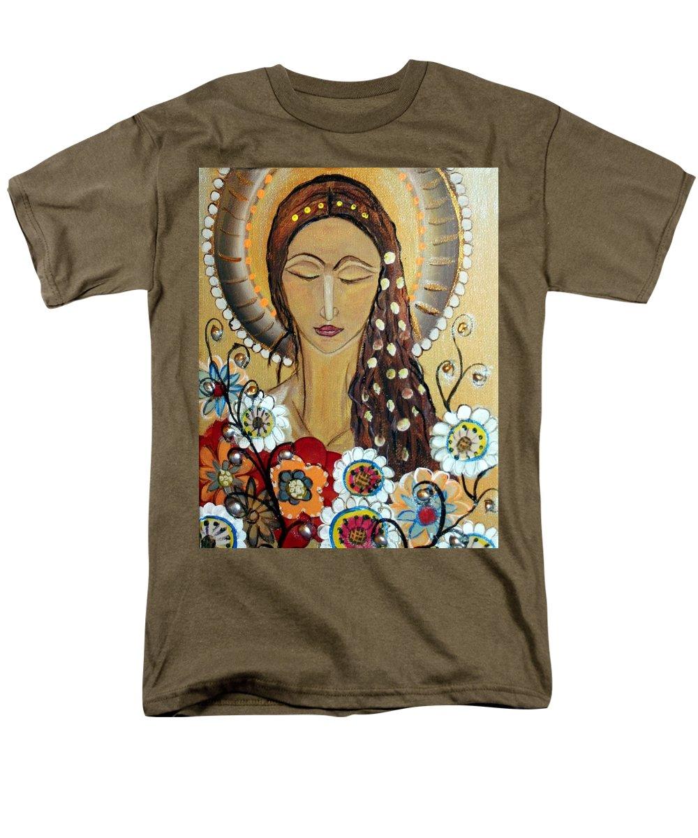 Art Men's T-Shirt (Regular Fit) featuring the painting My Angel Modern Icon by Luiza Vizoli