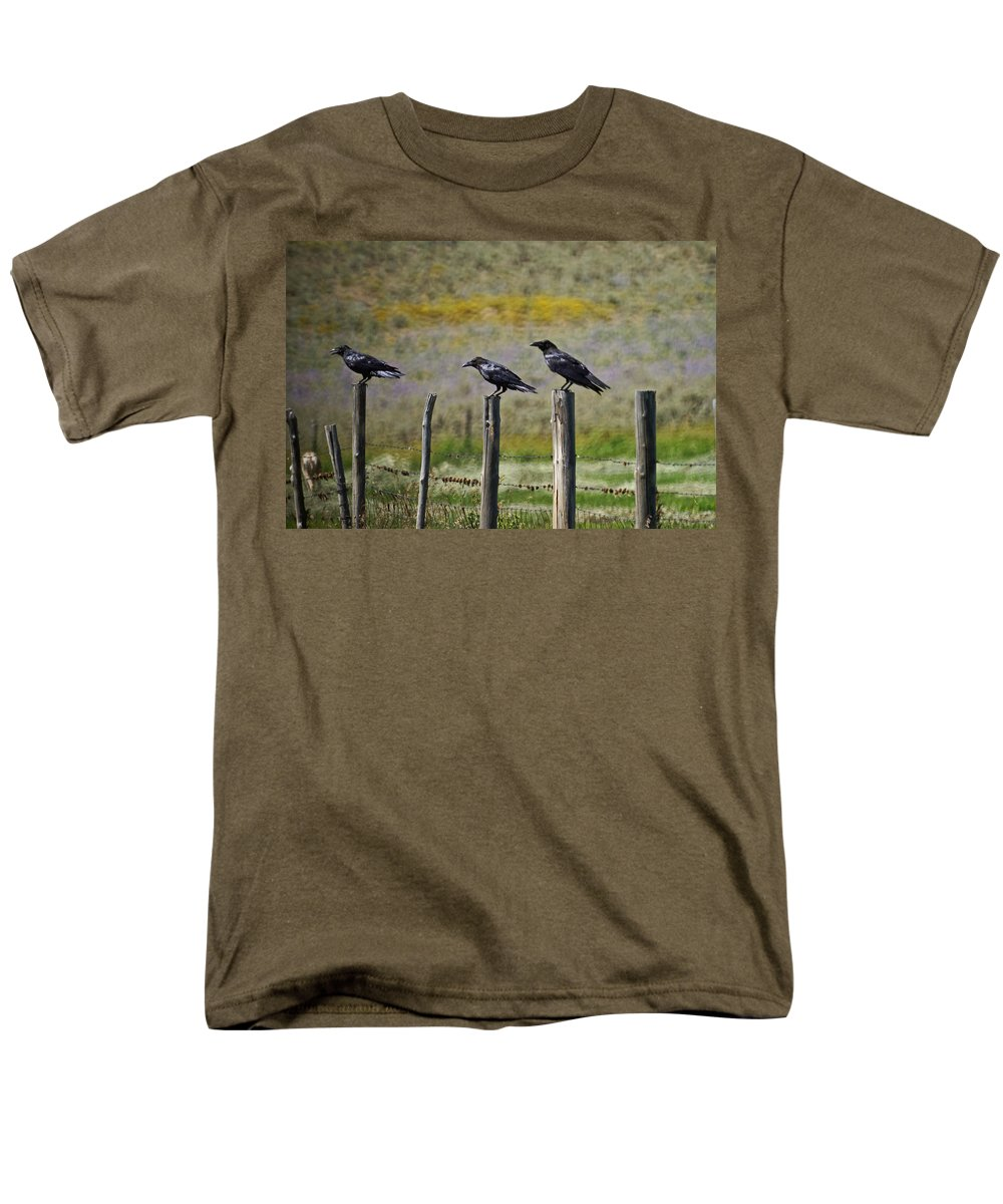 Crows Men's T-Shirt (Regular Fit) featuring the photograph Neighborhood Watch Crows by Heather Coen