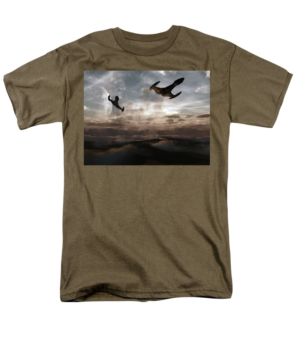 Sci-fi Men's T-Shirt (Regular Fit) featuring the digital art Patrol of Sector 9 by Richard Rizzo