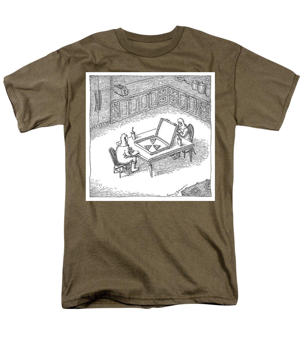 Hazard Men's T-Shirt (Regular Fit) featuring the drawing Pizza Hazard by John O'Brien