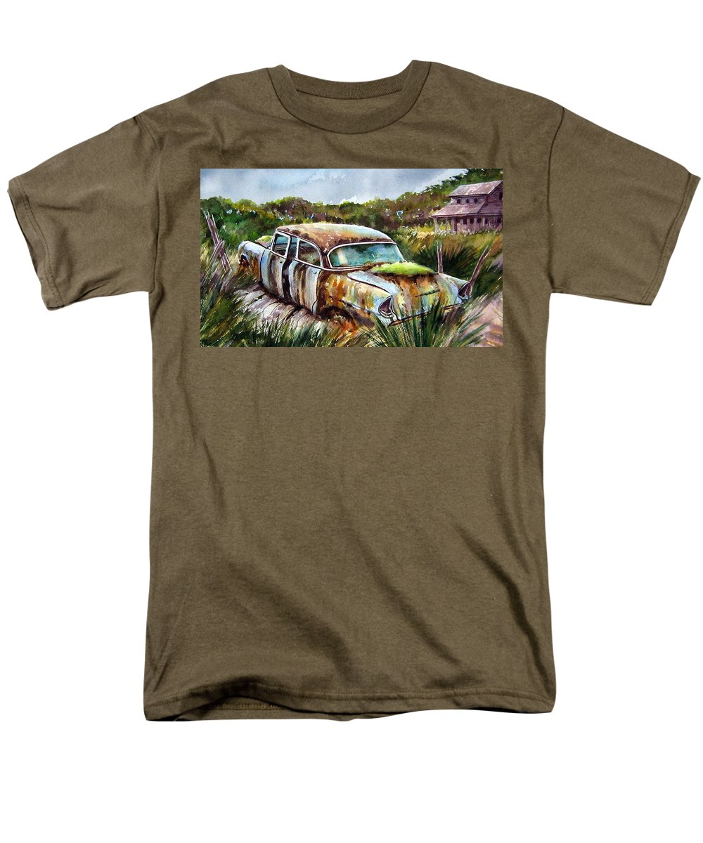 Plymouth Men's T-Shirt (Regular Fit) featuring the painting Plymouth on the Rocks by Ron Morrison
