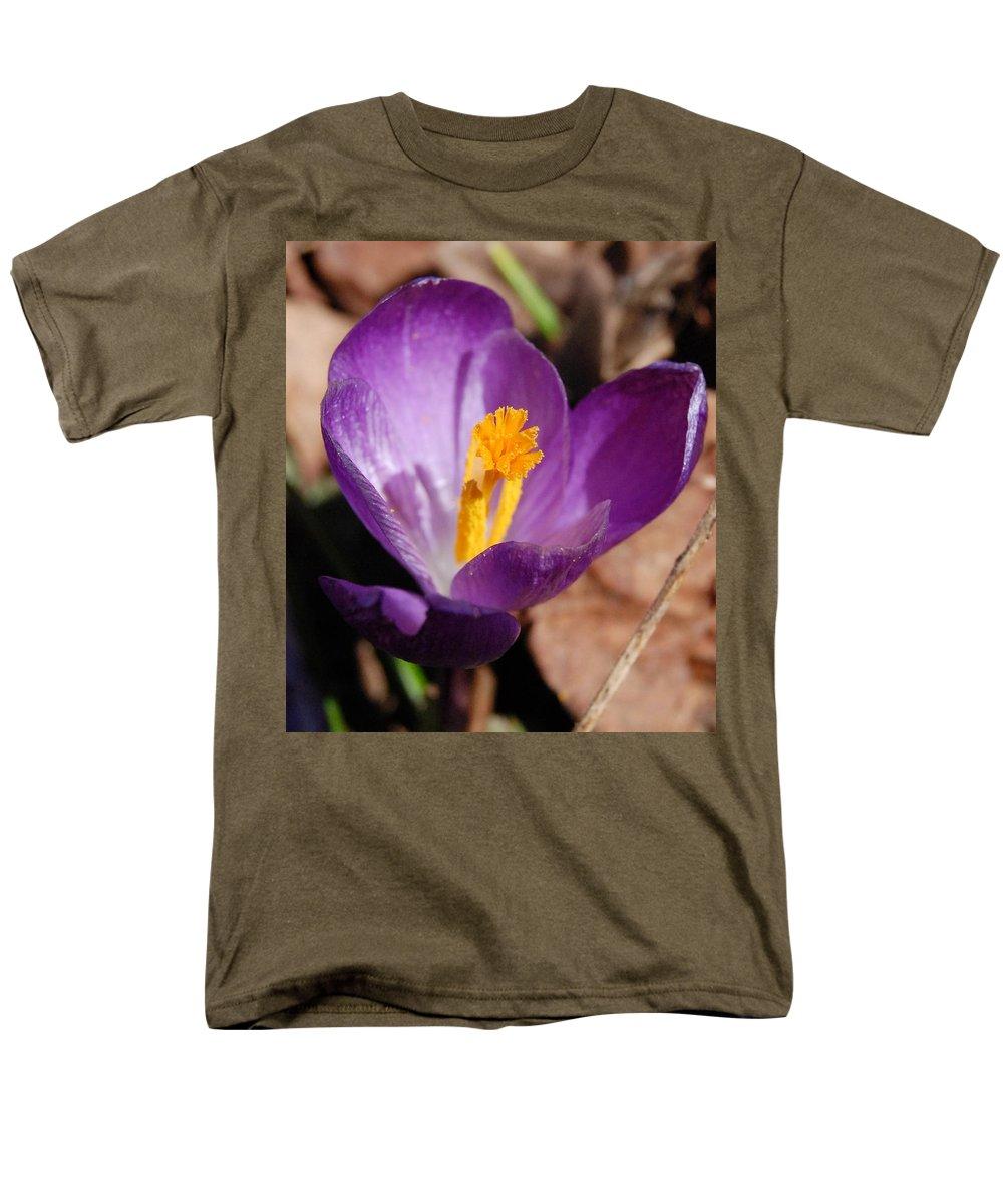 Digital Photography Men's T-Shirt (Regular Fit) featuring the photograph Purple Crocus by David Lane