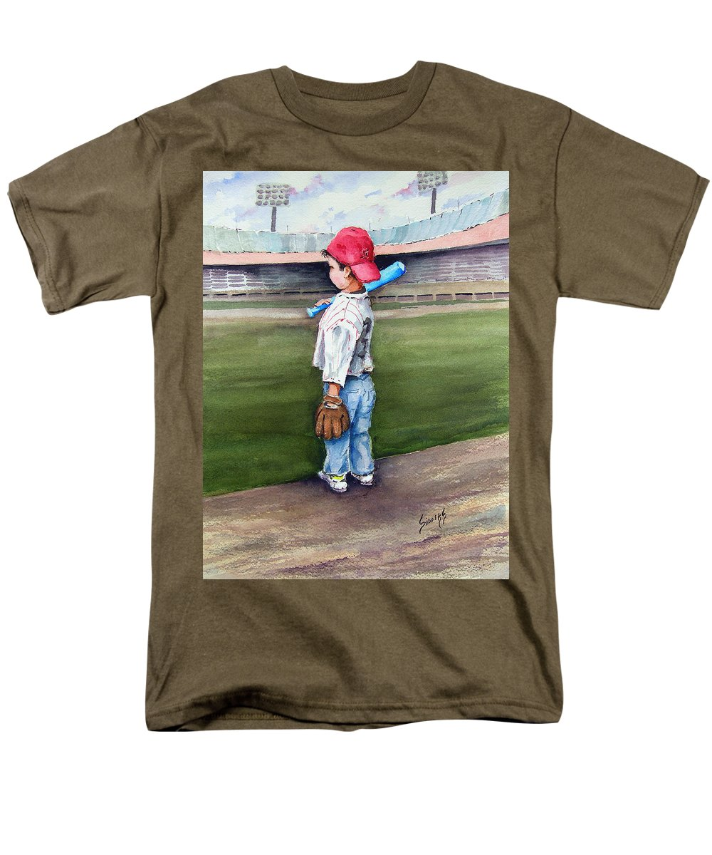 Baseball Men's T-Shirt (Regular Fit) featuring the painting Put Me In Coach by Sam Sidders