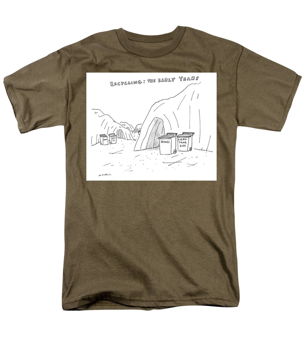 Recycling: The Early Years Men's T-Shirt (Regular Fit) featuring the drawing Recycling The Early Years by Michael Maslin