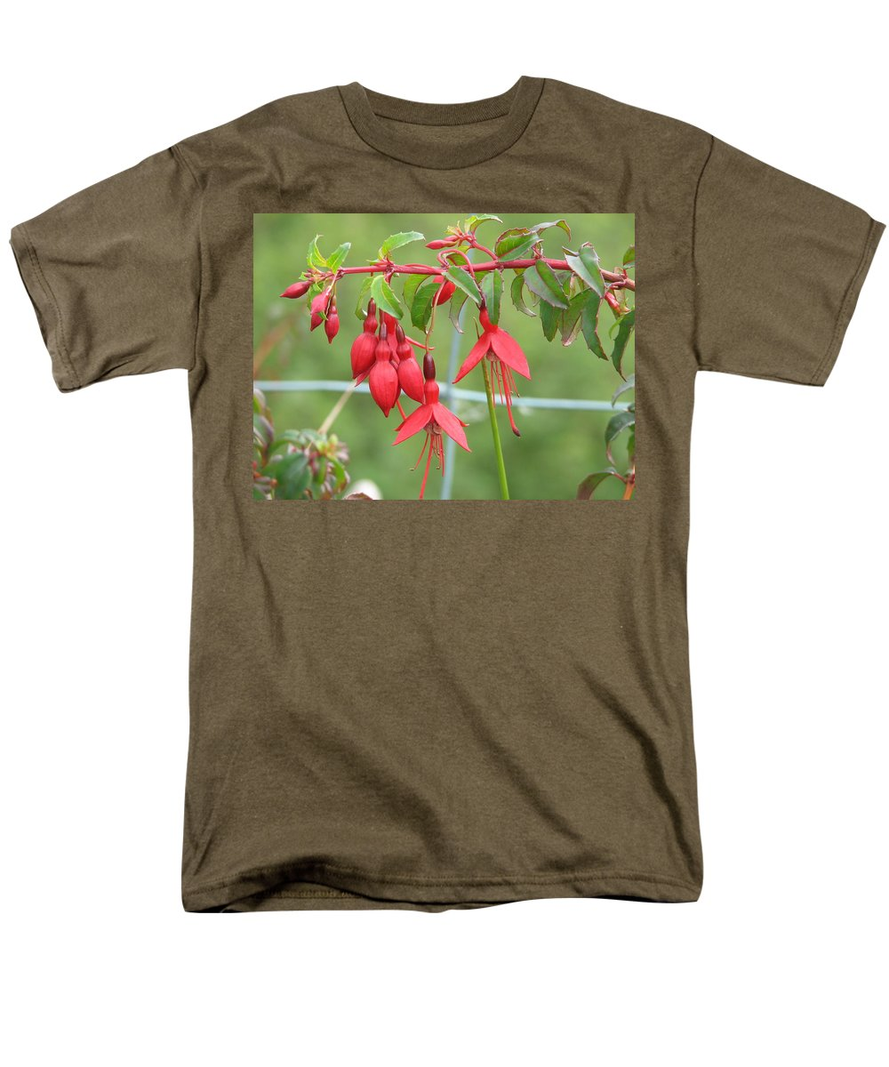 Fresia Men's T-Shirt (Regular Fit) featuring the photograph Red Fresia by Kelly Mezzapelle