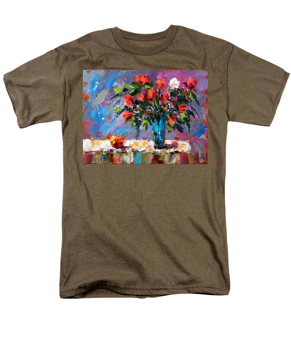 Flowers Men's T-Shirt (Regular Fit) featuring the painting Roses And A Peach by Debra Hurd