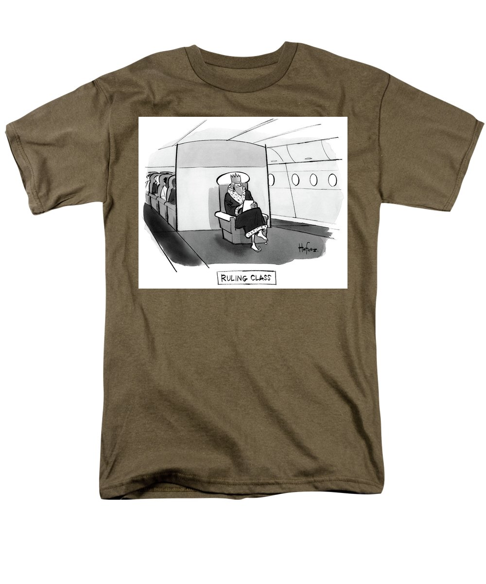 Ruling Class King Sits Alone In Separate Cabin On Airplane. 05/29/2017 Men's T-Shirt (Regular Fit) featuring the drawing Ruling Class King sits alone in separate cabin on airplane. by Kaamran Hafeez