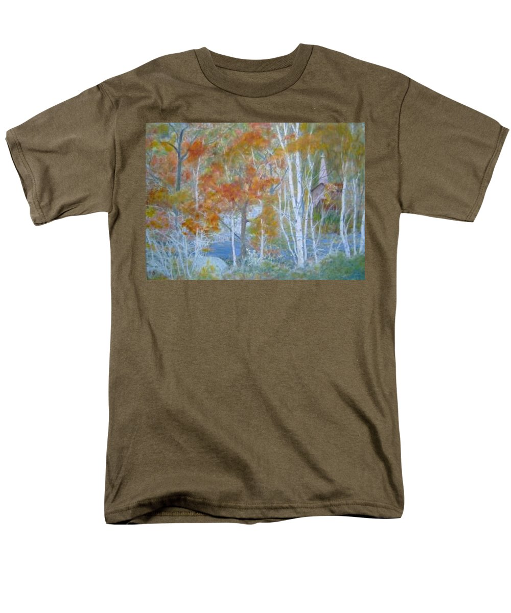 Church; Landscape; Birch Trees Men's T-Shirt (Regular Fit) featuring the painting Sanctuary by Ben Kiger
