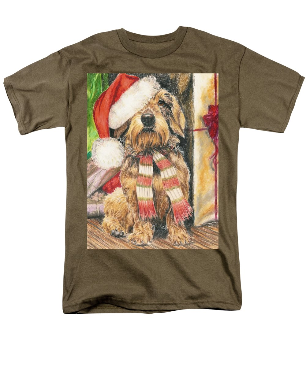Dogs Men's T-Shirt (Regular Fit) featuring the drawing Santas Little Yelper by Barbara Keith