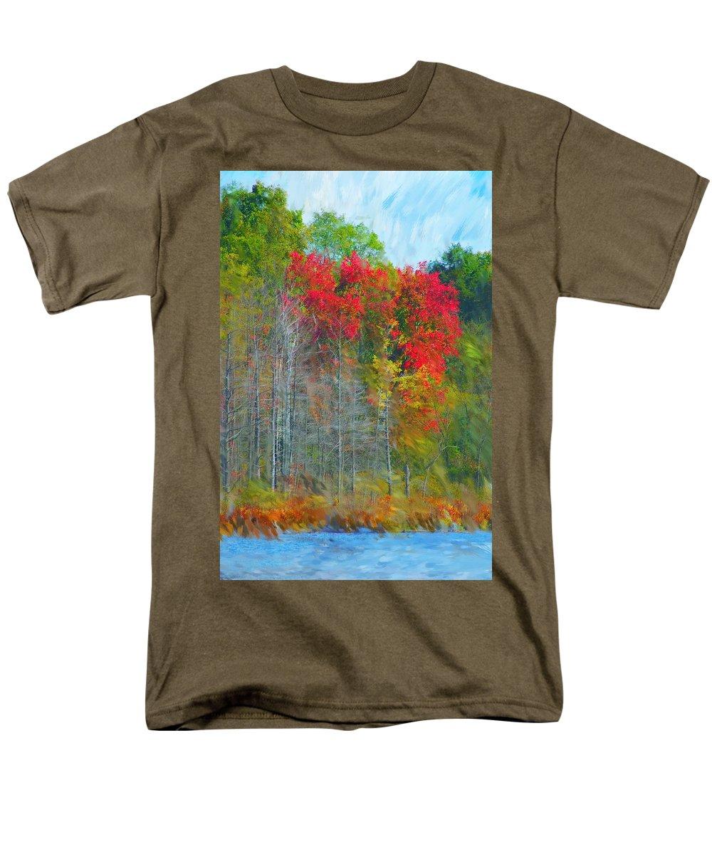 Landscape Men's T-Shirt (Regular Fit) featuring the digital art Scarlet Autumn Burst by David Lane