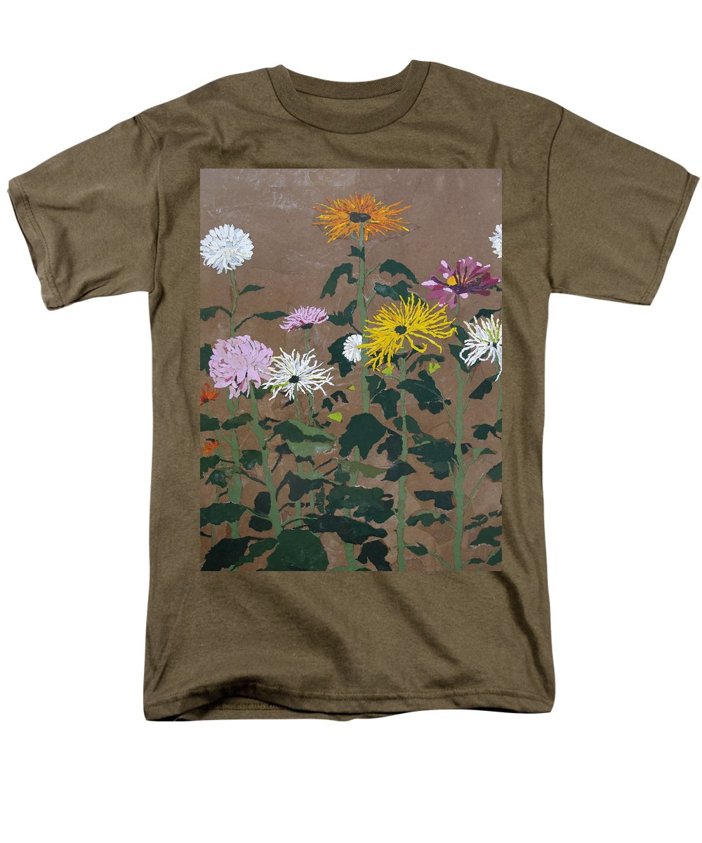 Collage Men's T-Shirt (Regular Fit) featuring the painting Smith's Giant Chrysanthemums by Leah Tomaino