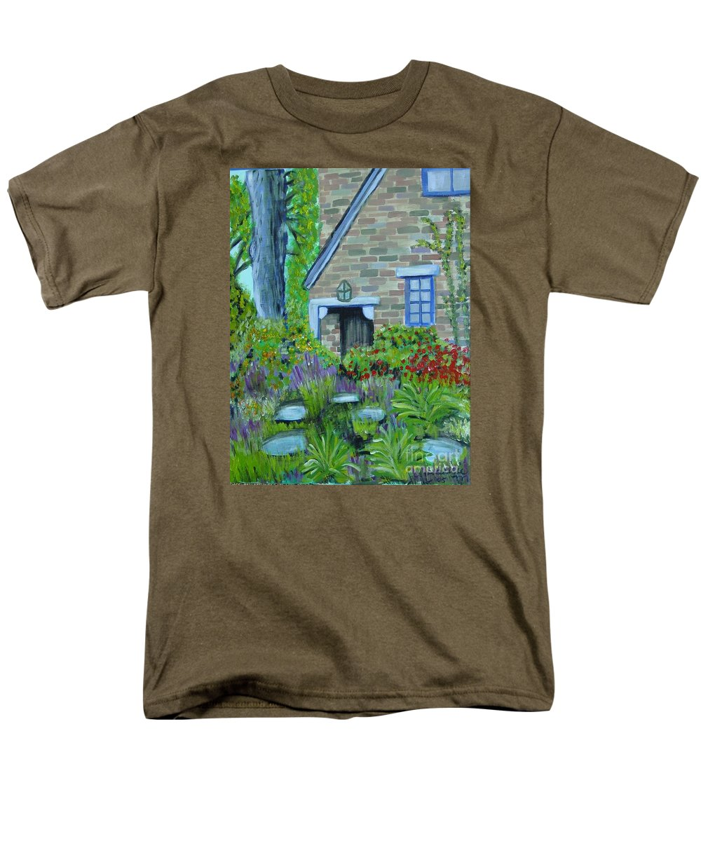 Cottage Men's T-Shirt (Regular Fit) featuring the painting Summer Retreat by Laurie Morgan
