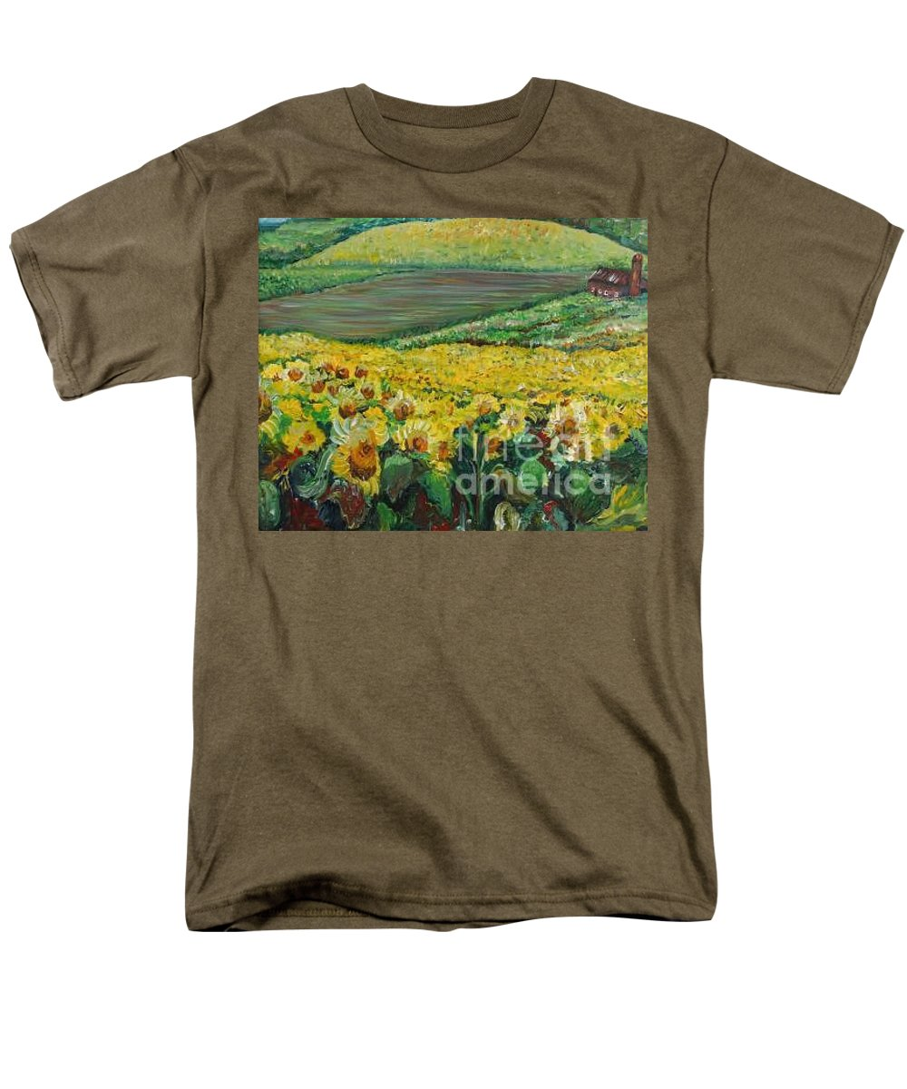 A Field Of Yellow Sunflowers Men's T-Shirt (Regular Fit) featuring the painting Sunflowers In Provence by Nadine Rippelmeyer