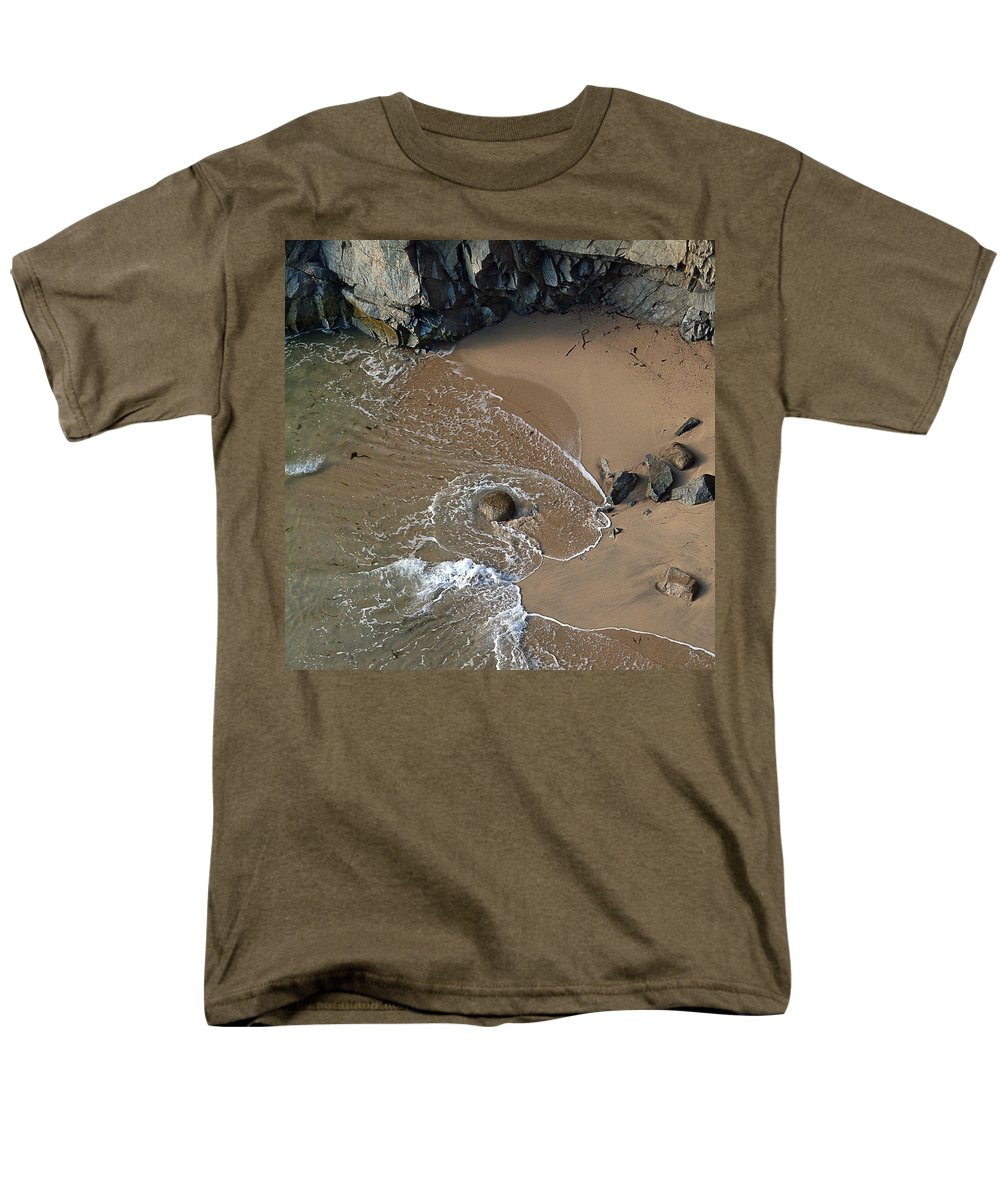 Big Sur Men's T-Shirt (Regular Fit) featuring the photograph Swirling Surf And Rocks by Charlene Mitchell
