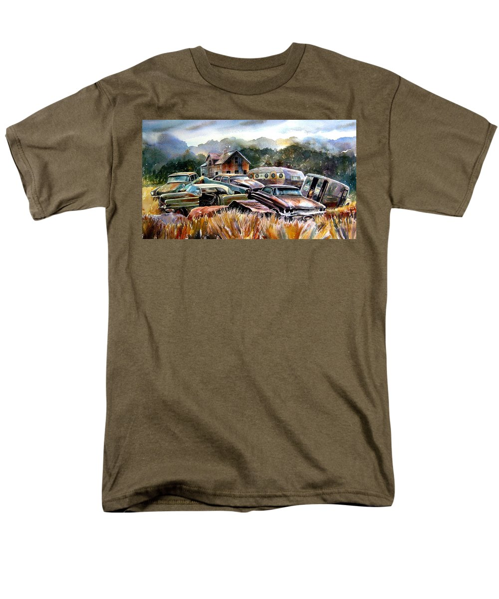 Old Wrecked Cars Men's T-Shirt (Regular Fit) featuring the painting The Donor Cars by Ron Morrison