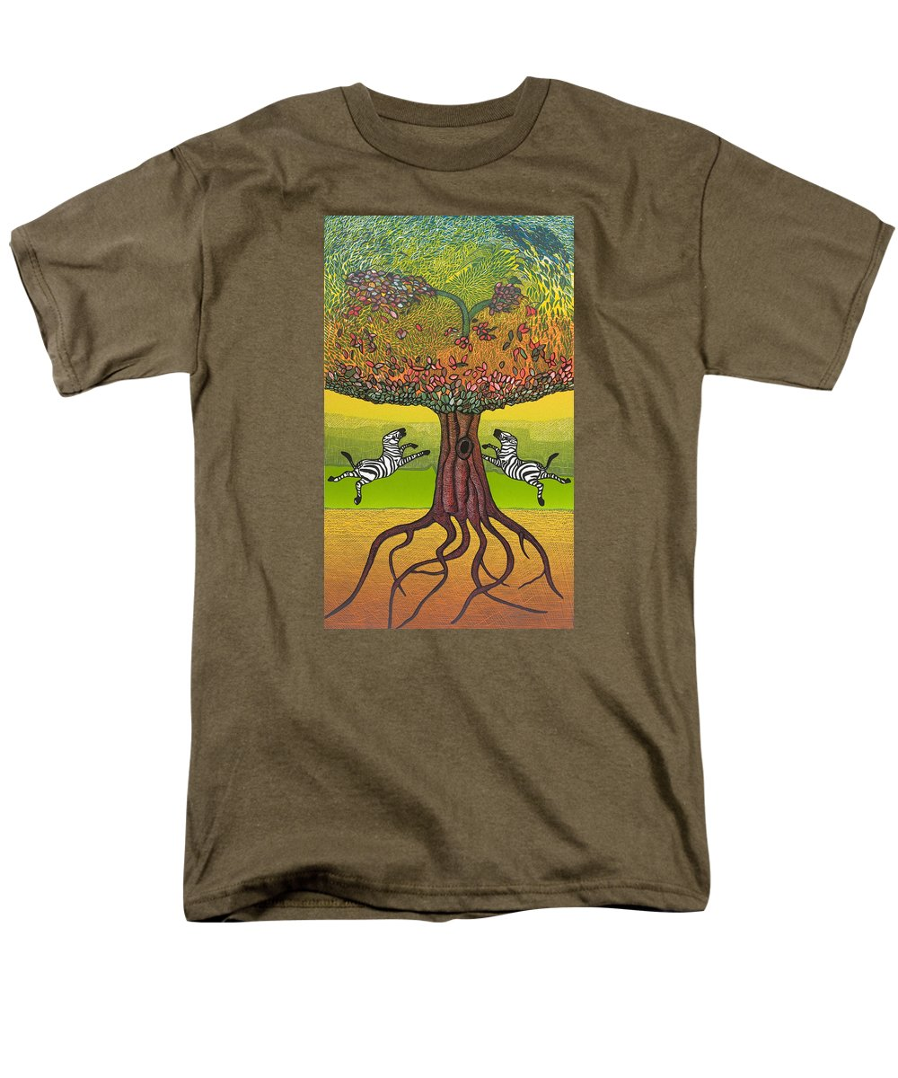Landscape Men's T-Shirt (Regular Fit) featuring the mixed media The Life-giving Tree. by Jarle Rosseland