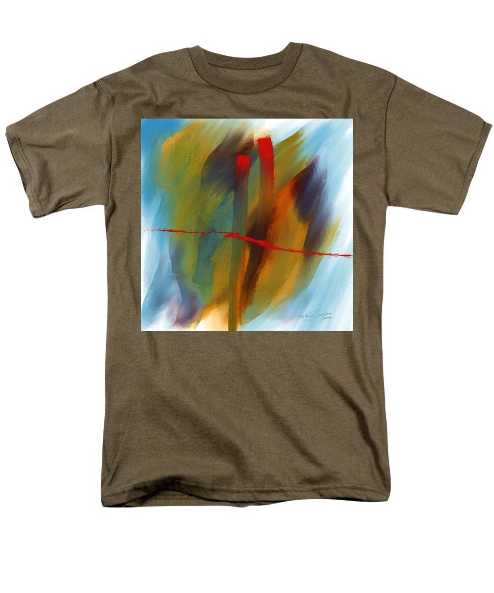 Red Abstract Lines Soft Moves Air Water Men's T-Shirt (Regular Fit) featuring the digital art The Red Line by Veronica Jackson