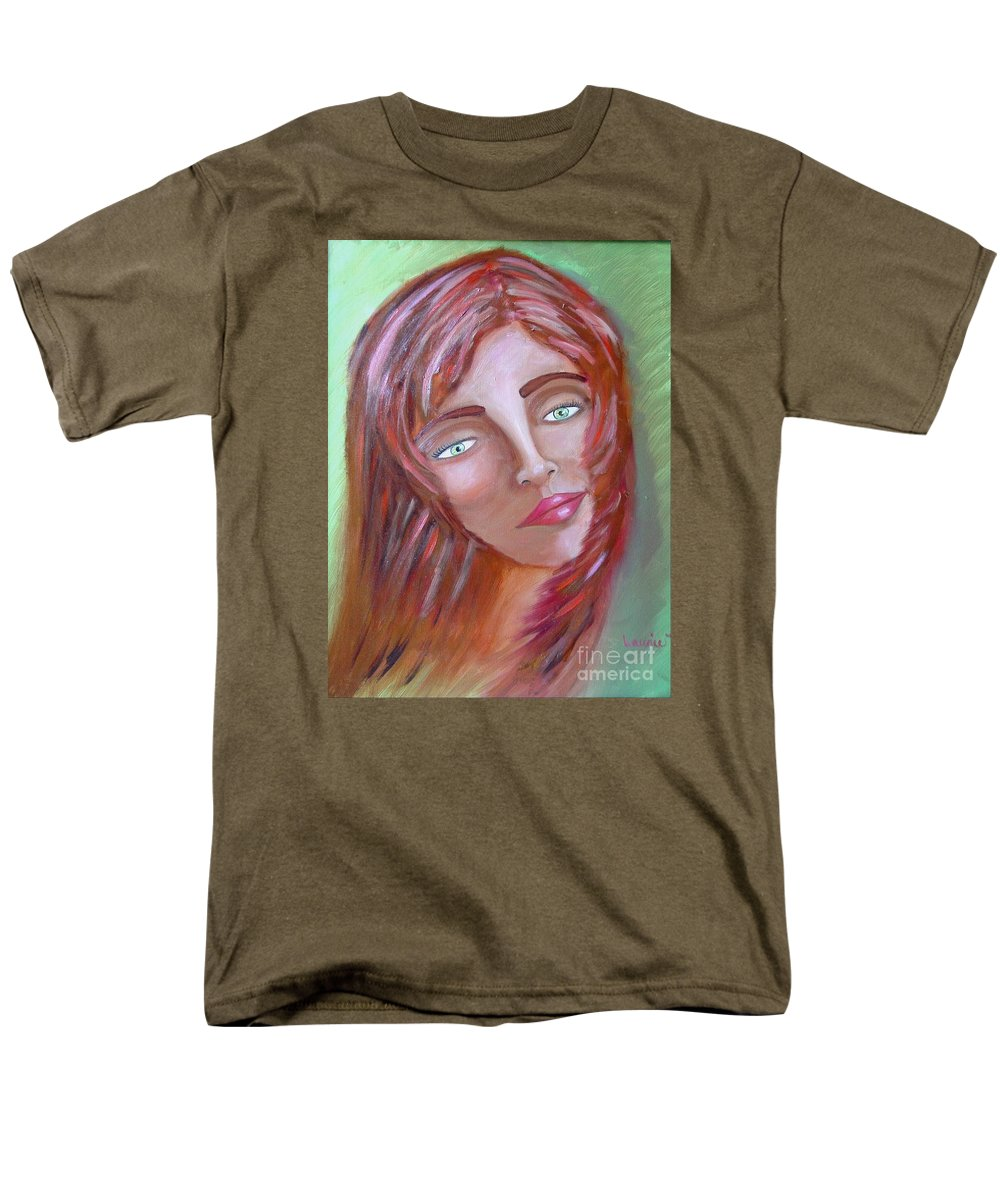 Redheads Men's T-Shirt (Regular Fit) featuring the painting The Redhead by Laurie Morgan
