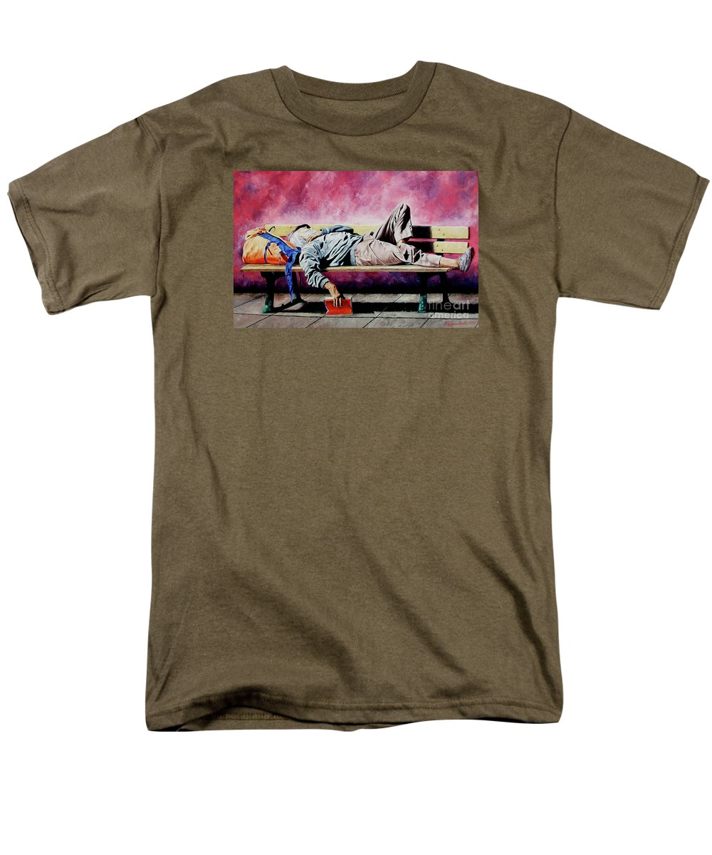 Figurative Men's T-Shirt (Regular Fit) featuring the painting The Traveler 1 - El Viajero 1 by Rezzan Erguvan-Onal