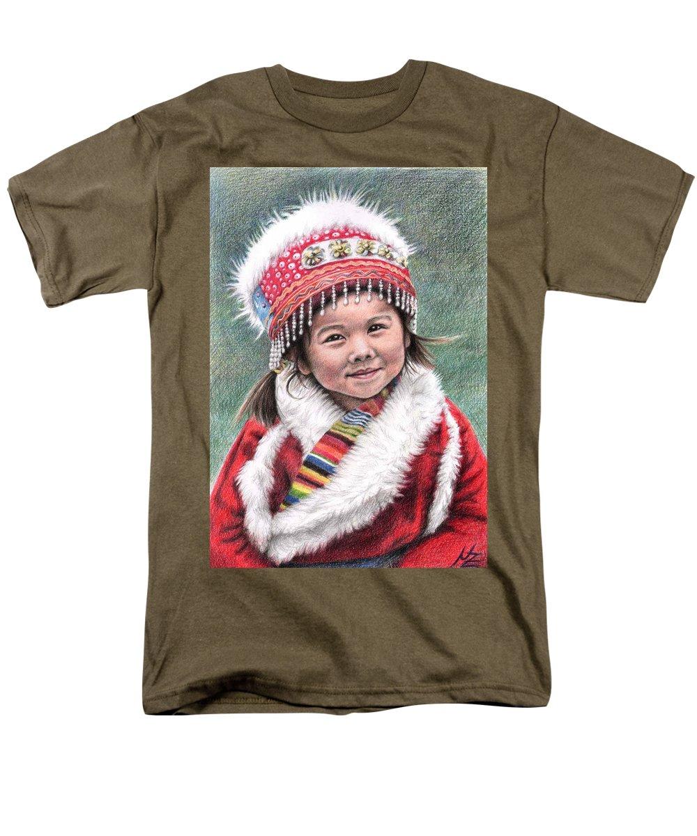 Girl Men's T-Shirt (Regular Fit) featuring the drawing Tibetan Girl by Nicole Zeug