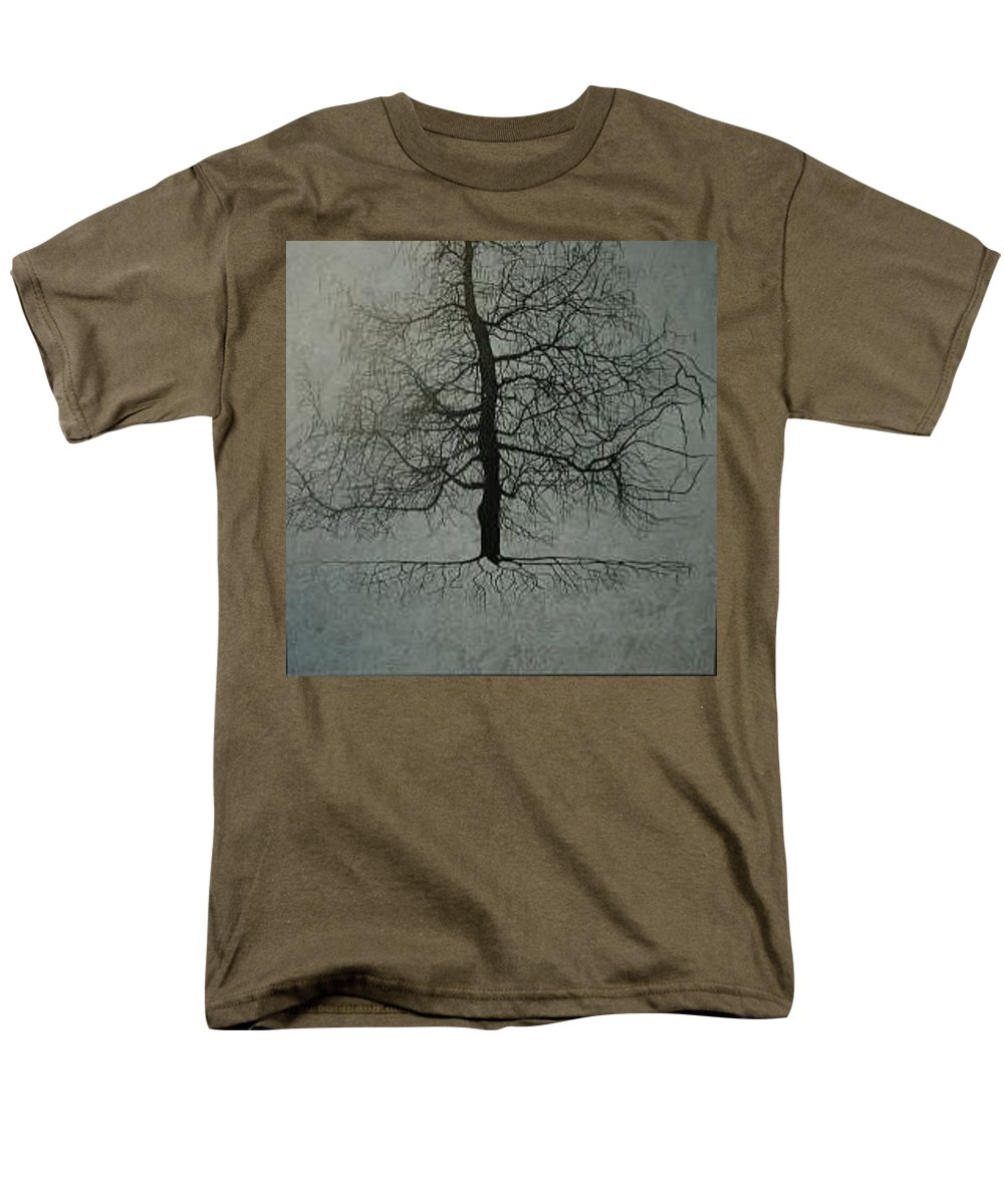 Silhouette Men's T-Shirt (Regular Fit) featuring the painting Untitled Blue by Leah Tomaino