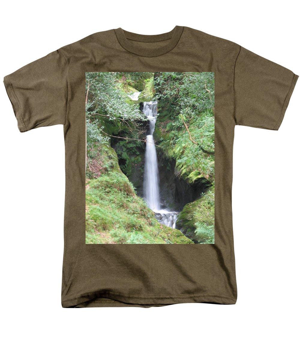 Glendalough Men's T-Shirt (Regular Fit) featuring the photograph Upper Falls by Kelly Mezzapelle