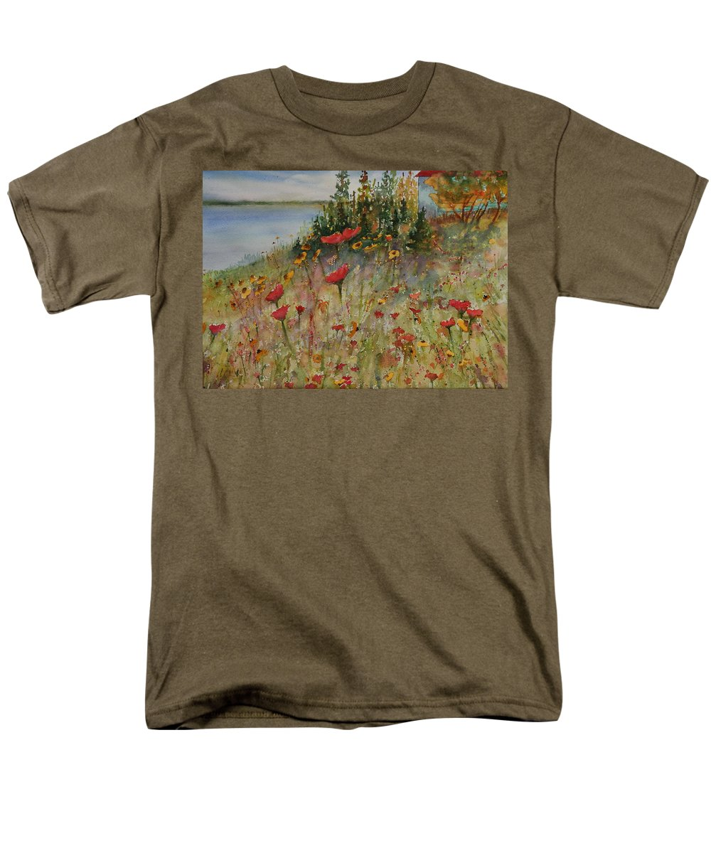 Nature Men's T-Shirt (Regular Fit) featuring the painting Wendy's Wildflowers by Ruth Kamenev