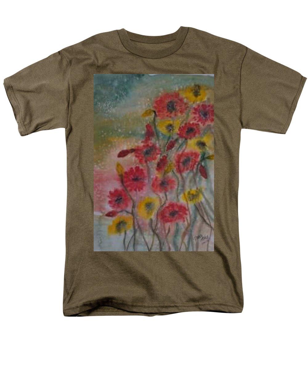 Watercolor Men's T-Shirt (Regular Fit) featuring the painting WILDFLOWERS still life modern print by Derek Mccrea