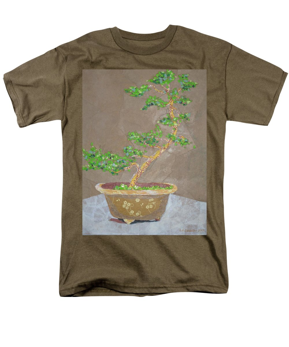 Banzai Tree Men's T-Shirt (Regular Fit) featuring the painting Windswept Juniper by Leah Tomaino
