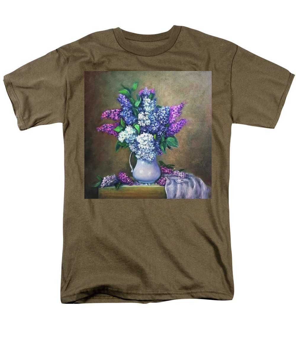 Lilac Men's T-Shirt (Regular Fit) featuring the painting Lilac flowers by Natalja Picugina