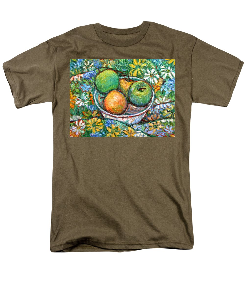Apples Men's T-Shirt (Regular Fit) featuring the painting Apples and Flowers by Kendall Kessler