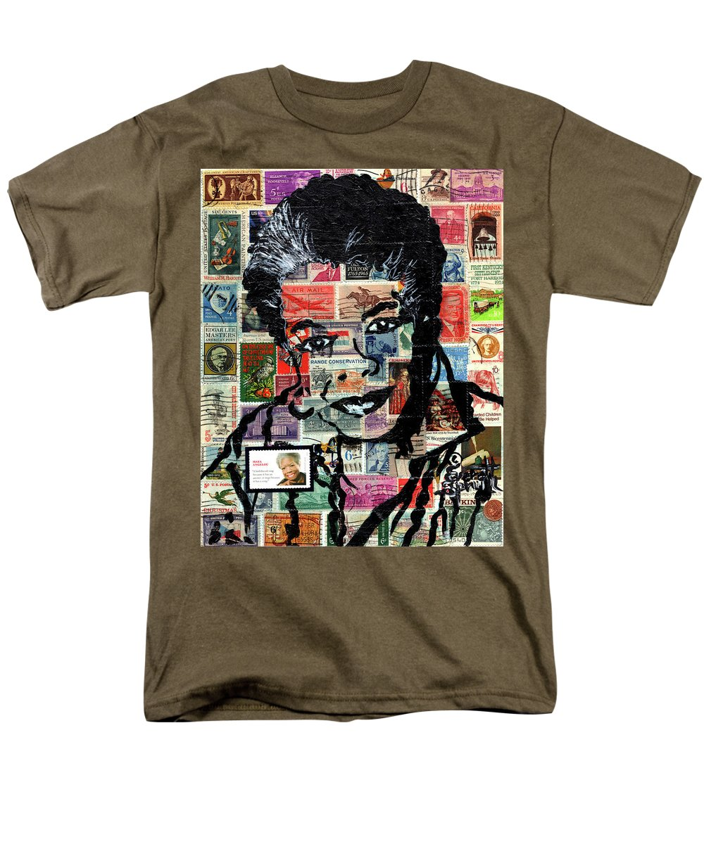 African Mask Men's T-Shirt (Regular Fit) featuring the mixed media Maya Angelou by Everett Spruill