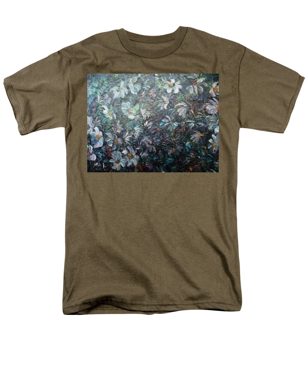Floral Daisies Abstract Men's T-Shirt (Regular Fit) featuring the painting Moonlight And Daisies.. by Karin Dawn Kelshall- Best