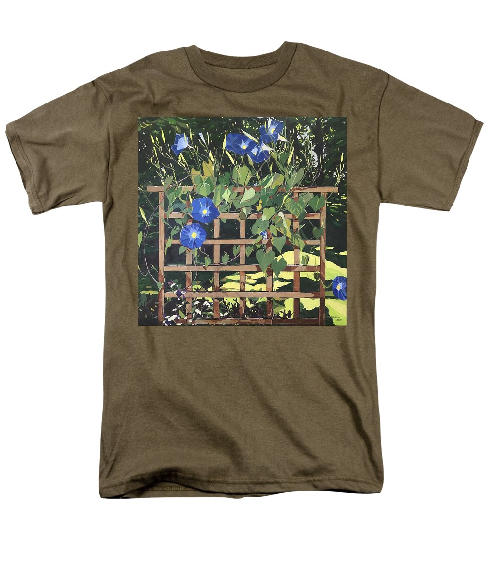 Floral Men's T-Shirt (Regular Fit) featuring the mixed media Oh Morning Glories by Leah Tomaino