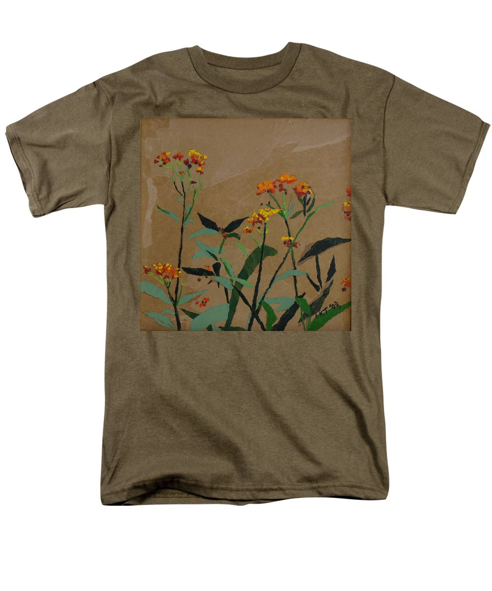 Floral Recycled Collage Men's T-Shirt (Regular Fit) featuring the painting Smith Garden by Leah Tomaino