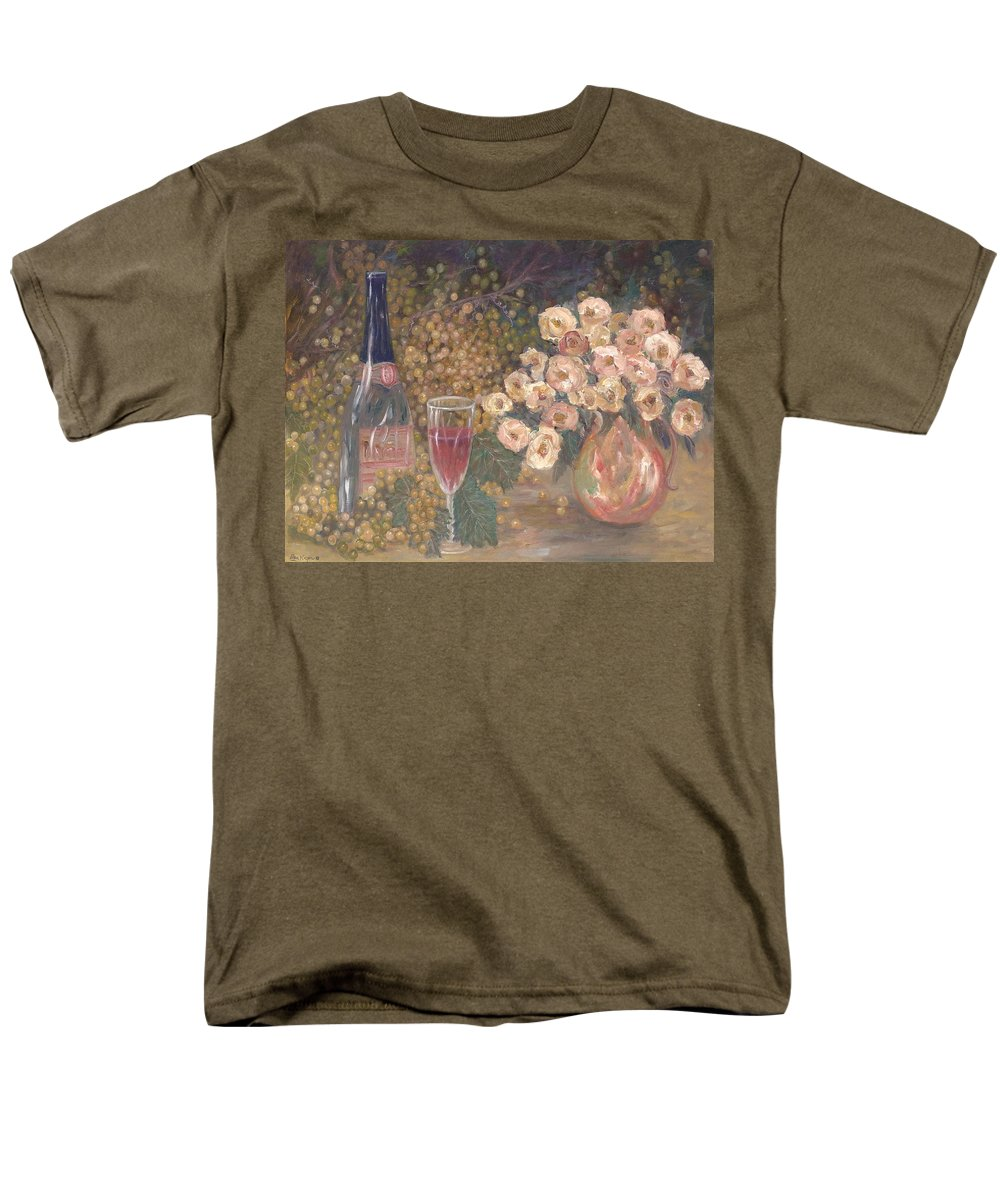 Stilllife; Floral; Wine Men's T-Shirt (Regular Fit) featuring the painting Wine And Roses by Ben Kiger