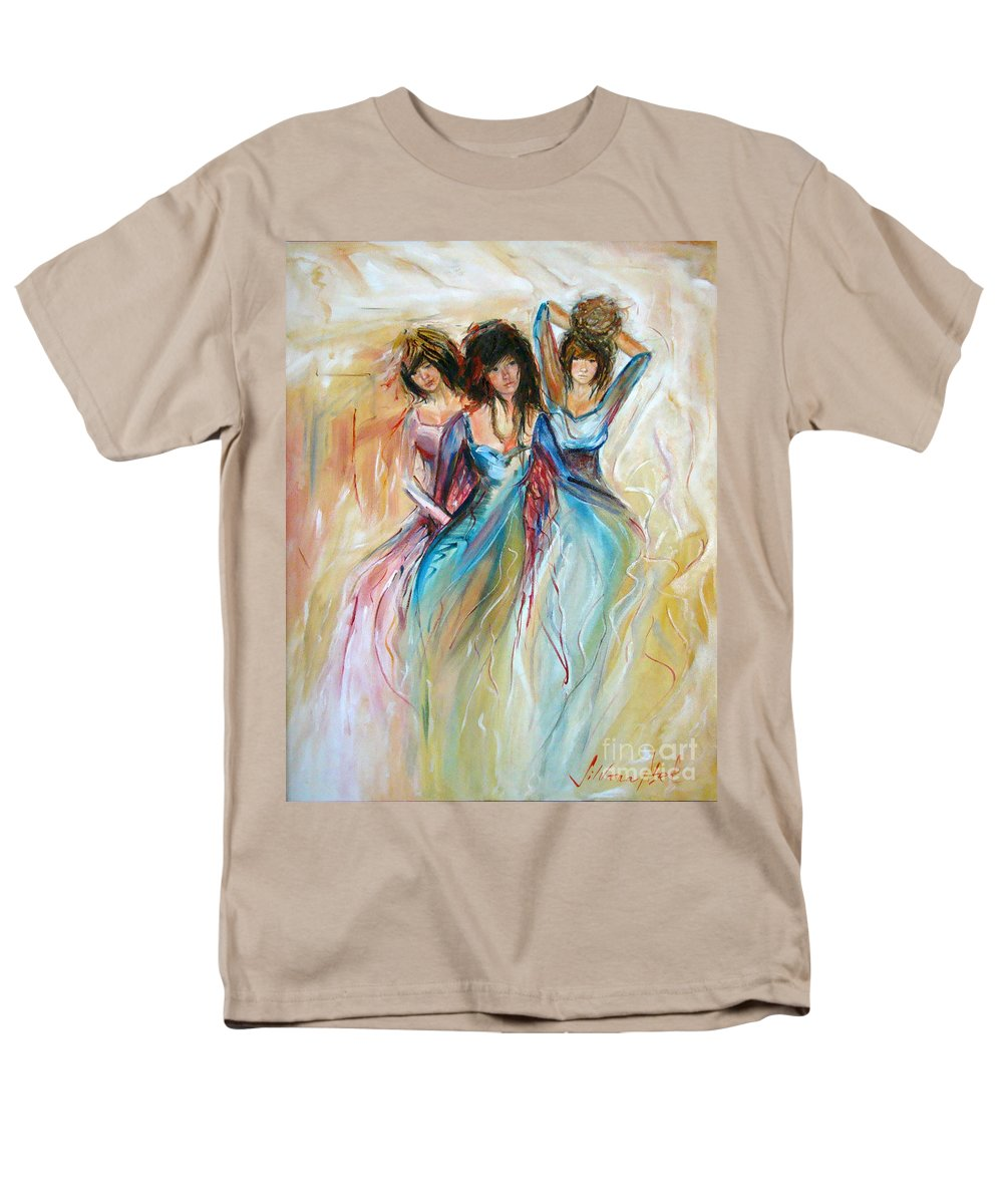Contemporary Art Men's T-Shirt (Regular Fit) featuring the painting Having Fun by Silvana Abel