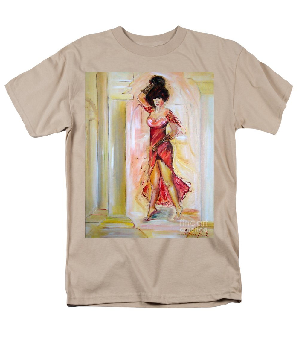 Contemporary Art Men's T-Shirt (Regular Fit) featuring the painting Lady in Red by Silvana Abel