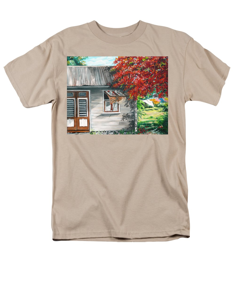 Caribbean Painting Typical Country House In The Caribbean Or West Indian Islands With Flamboyant Tree Tropical Painting Men's T-Shirt (Regular Fit) featuring the painting Little West Indian House 1 by Karin Dawn Kelshall- Best