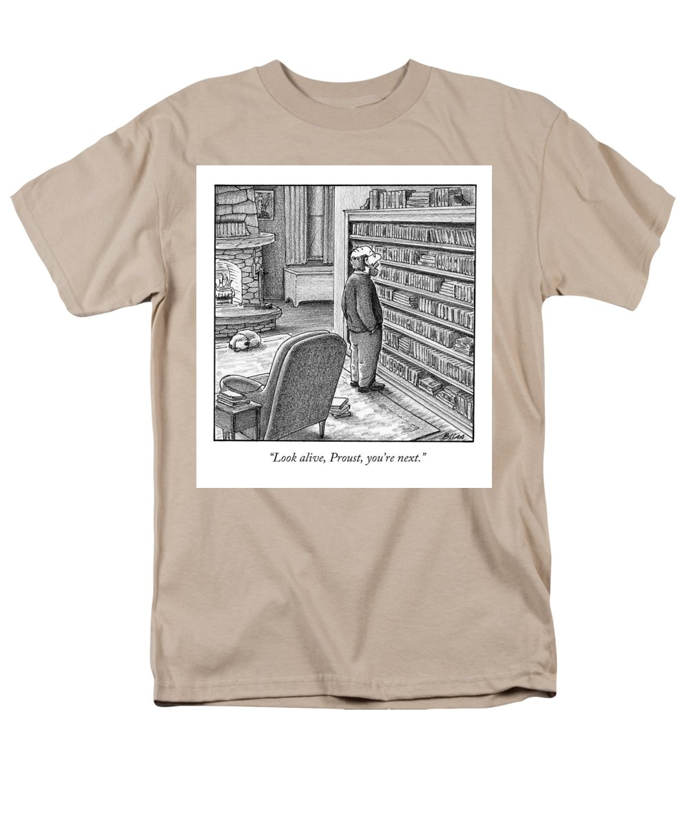 Proust Men's T-Shirt (Regular Fit) featuring the drawing Look Alive, Proust, You're Next by Harry Bliss