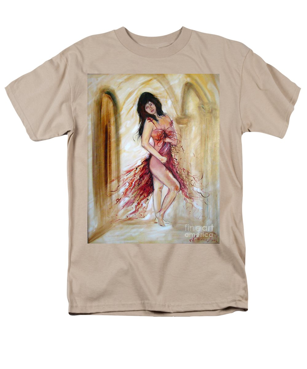 Contemporary Art Men's T-Shirt (Regular Fit) featuring the painting She by Silvana Abel