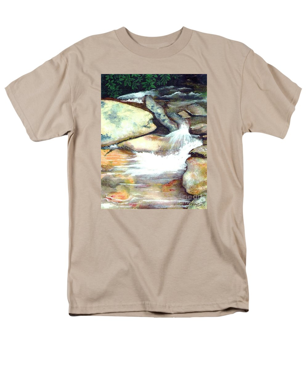 Fine Art Men's T-Shirt (Regular Fit) featuring the painting Smoky Mountains Waterfall by Patricia Griffin Brett
