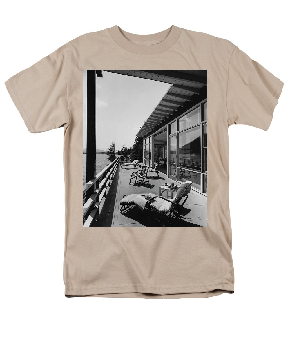 Architecture Men's T-Shirt (Regular Fit) featuring the photograph The Alfred Rose Lake Placid Summer Home by Robert M. Damora