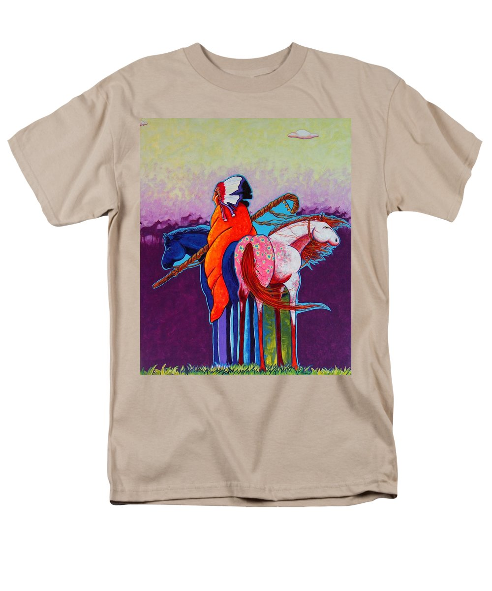 Native American Men's T-Shirt (Regular Fit) featuring the painting The Peacemakers Gift by Joe Triano