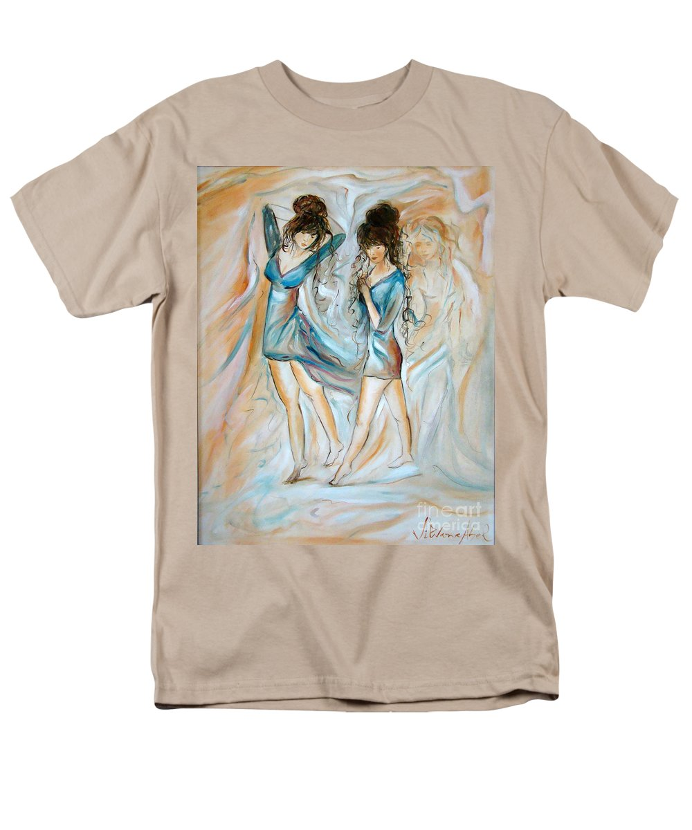 Contemporary Art Men's T-Shirt (Regular Fit) featuring the painting Wondering by Silvana Abel