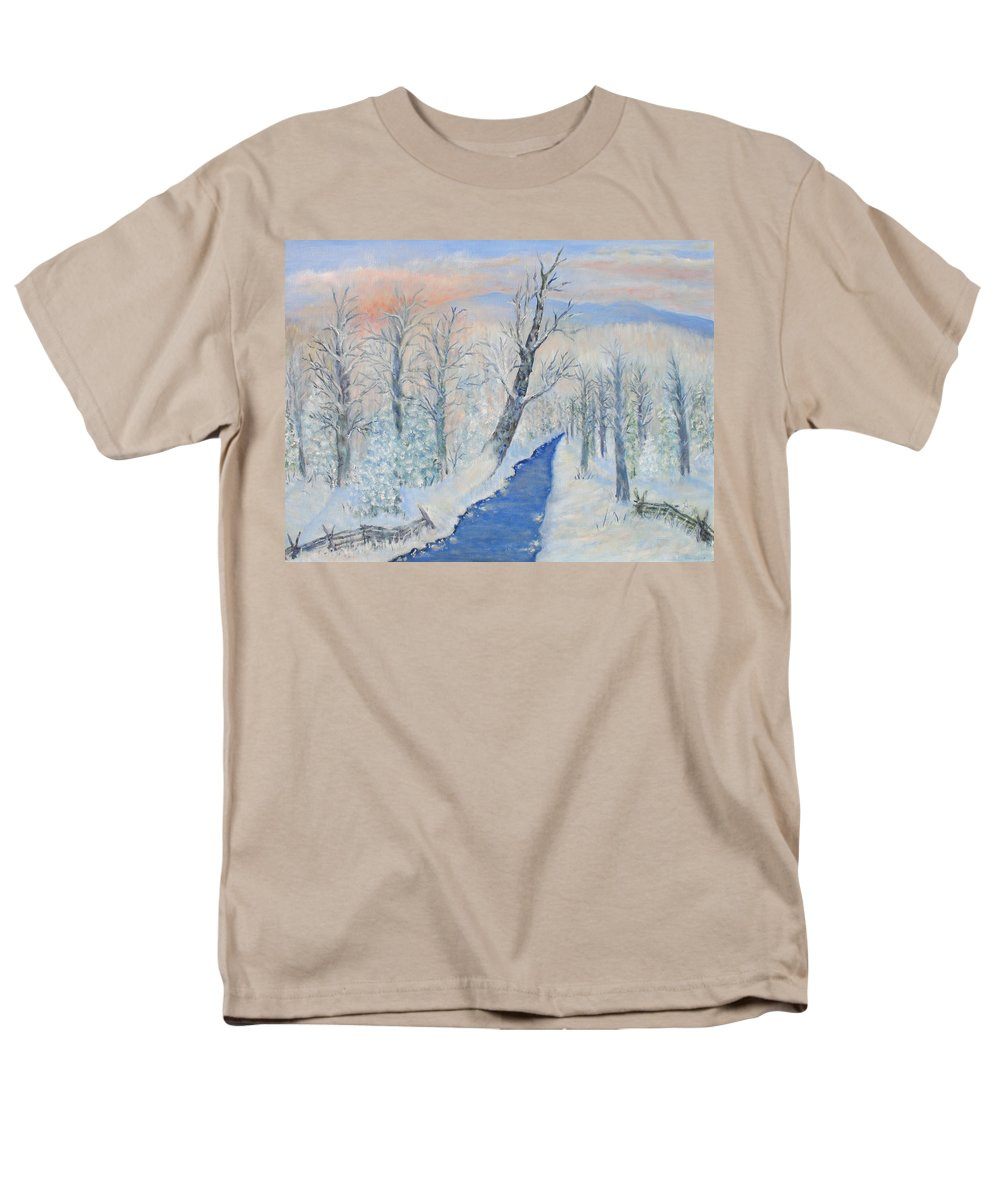 Winter Men's T-Shirt (Regular Fit) featuring the painting Winter Sunrise by Ben Kiger