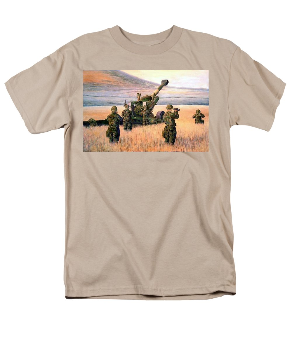 Signed And Numbered Prints Of The Montana National Guard Men's T-Shirt (Regular Fit) featuring the print 1-190th Artillery by Scott Robertson