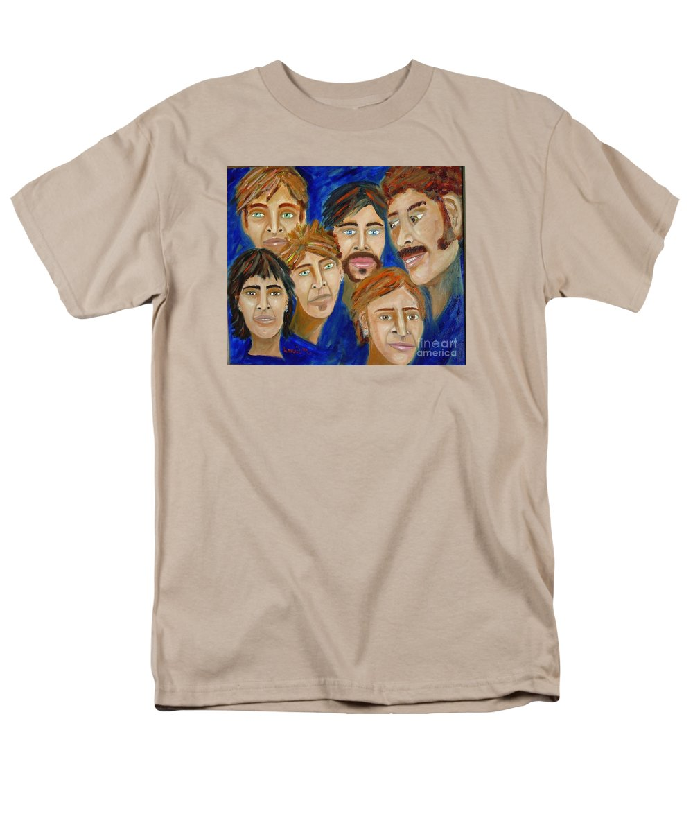 Portrait Men's T-Shirt (Regular Fit) featuring the painting 70s Band Reunion by Laurie Morgan