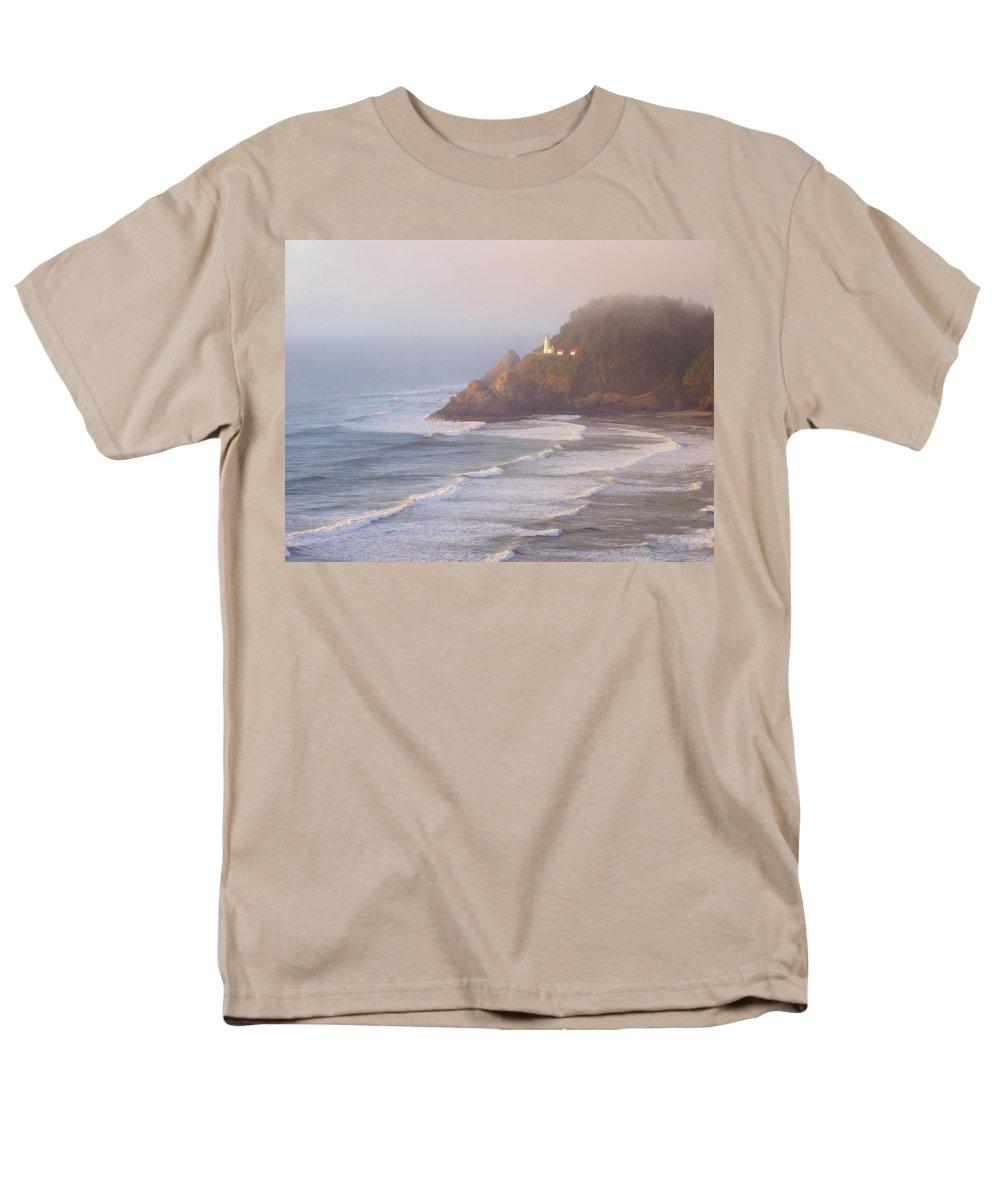 Oregon Coast Men's T-Shirt (Regular Fit) featuring the photograph A Quiet Place by Deborah Crew-Johnson